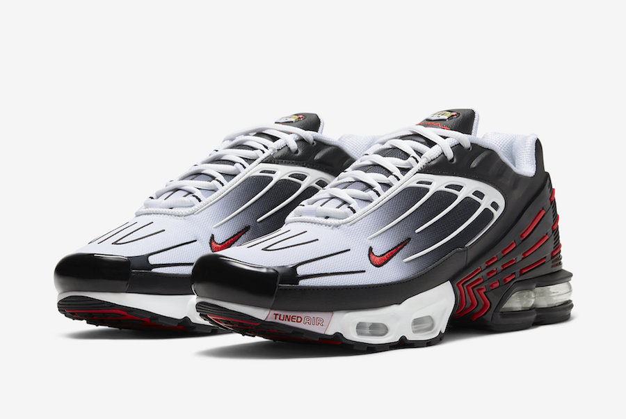 White, black and red Nike Air Max Plus